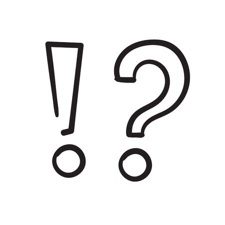 hand drawn Exclamations and Question Marks. Questions and receive Answers icon illustration doodle Imagens - 148765227