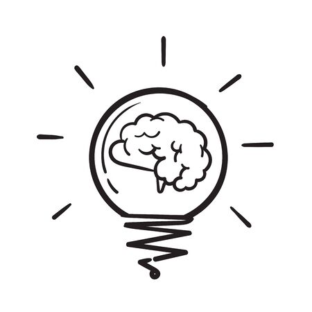 hand drawn Creative idea doodle line icon. Brain in light bulb vector illustration. Thin sign of innovation, solution, education logo.vector