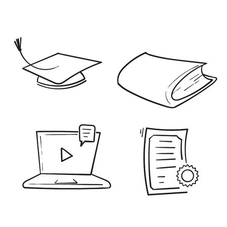 hand drawn Online education line icons. Set of education, webinar, distance, student, training and more. Vector illustration isolated for graphic and web design. doodle Imagens - 148765182