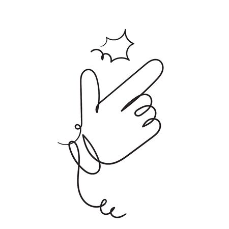hand drawn Finger Snapping Hand Gesture Minimal doodle Line Outline Stroke Icon vector