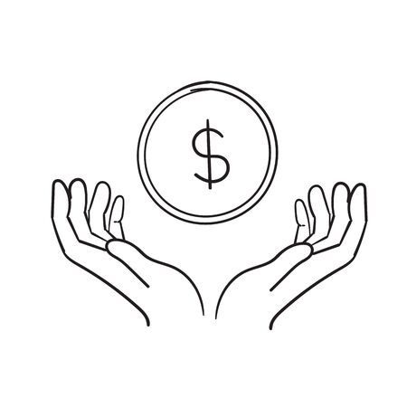 Simple doodle hand with a coin line icon. Symbol and sign vector illustration design. hand drawing cartoon