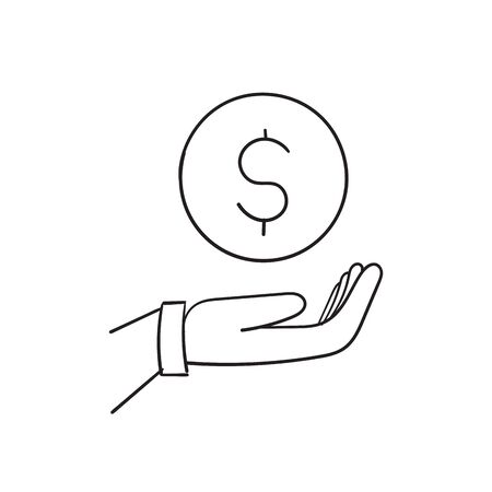 Simple doodle hand with a coin line icon. Symbol and sign vector illustration design. hand drawing cartoon Imagens - 148765401