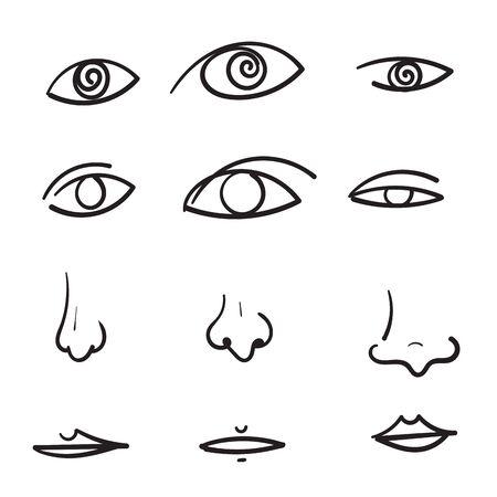 hand drawn doodle human eyes nose lips illustration Illustration