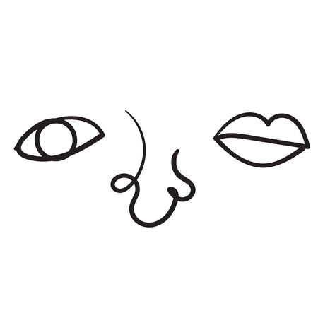 hand drawn doodle human eyes nose lips illustration Иллюстрация