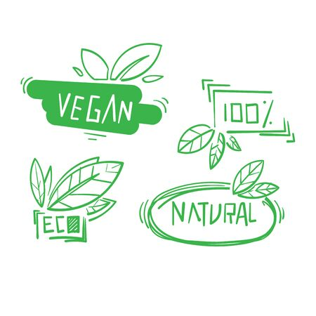 hand drawn Vegan symbol. Fresh nature product badge, healthy vegetarian food products and natural ecological foods labels. Eco market tag design, doodle