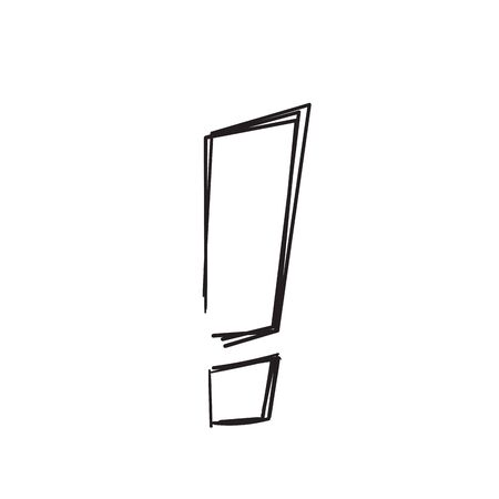 hand drawn exclamation mark icon sign with doodle line art style