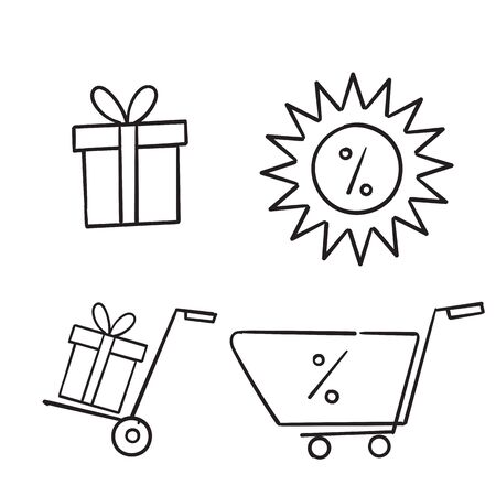 Set of hand drawn gift box icons, such as present, discount, package, price tag. Vector illustration isolated for graphic and web design. doodle Imagens - 148765022