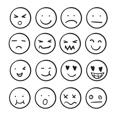 Hand drawn ink emojis faces. Doodle emoticons sketch, ink brush icons of happy sad face. cartoon art