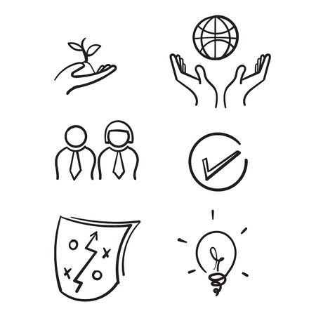 hand drawn Core Values symbol illustration. doodle Mission, integrity value icon set with vision, honesty, passion icon set.