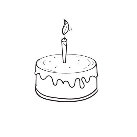 hand drawn doodle cake with candle illustration vector cartoon Imagens - 148767265