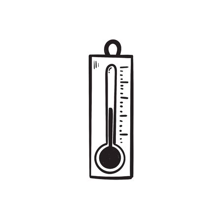 hand drawn doodle thermometer icon illustration vector