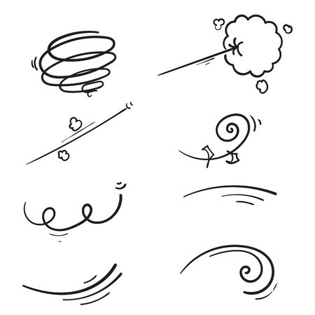 hand drawn doodle wind collection illustration cartoon manga style vector