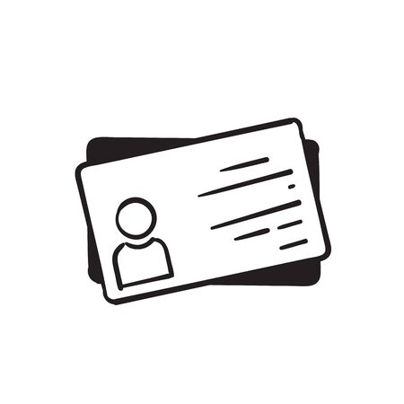 hand drawn Employee clerk card, id card icon, vcard vector icon illustration for graphic design, logo, web site, social media, mobile app, ui . doodle