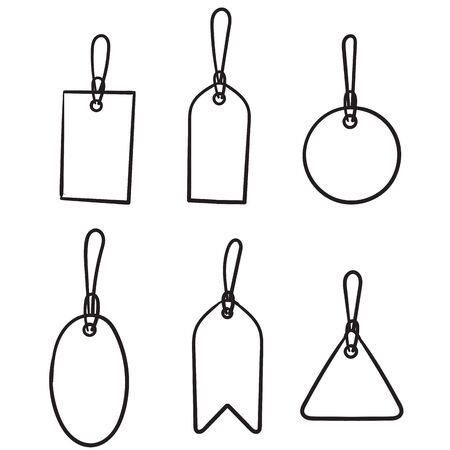 hand drawn Set of sale tags and labels, template shopping labels. Blank, discount and price tags on paper. Special offer. Vintage. Vector illustration. doodle Imagens - 149178054