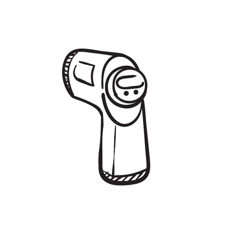 hand drawn thermometer gun illustration doodle