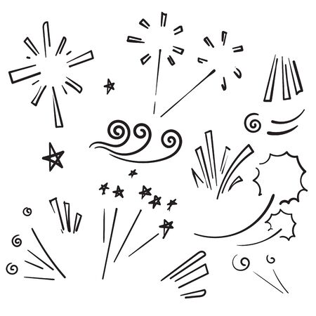 doodle Vector collection of swishes, swashes, swoops. Calligraphy swirl. Highlight text elements. Hand drawn fireworks cartoon