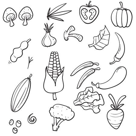 hand drawn Vegetables doodle drawing collection. vegetable such as carrot, corn, ginger, mushroom, cucumber, cabbage, potato, etc. icon vector Ilustração