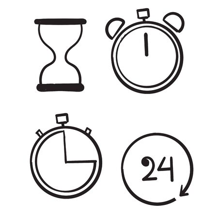 hand drawn Time and Clock set. Time management. Timer, Speed, Alarm, Restore, Time Management, symbol doodle