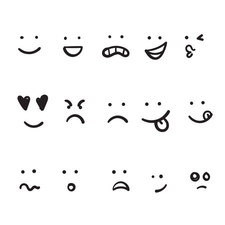 hand drawn Cartoon faces. Expressive eyes and mouth, smiling, crying and surprised character face expressions. Caricature comic emotions or emoticon doodle. Ilustração