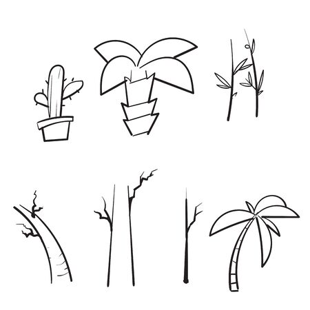 hand drawn doodle tree collection vector isolated Ilustração