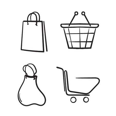 Set of hand drawn shopping cart icons. Collection of web icons for online store, from various cart icons in various shapes. doodle Ilustração