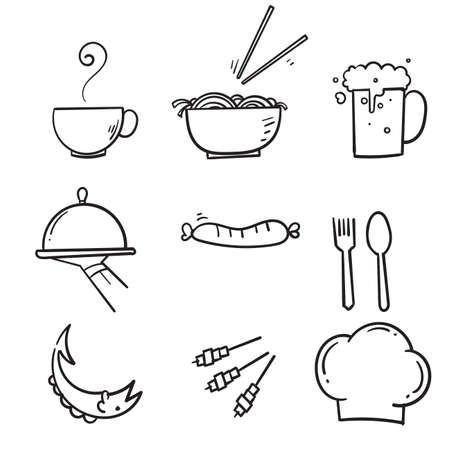 hand drawn Food and drinks icon. Restaurant line icons set. Vector illustration.doodle Imagens - 150671173