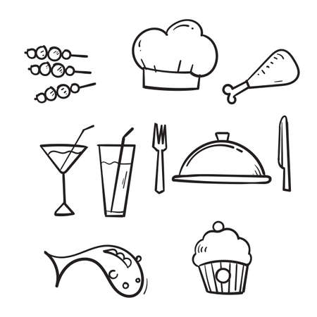 hand drawn Food and drinks icon. Restaurant line icons set. Vector illustration.doodle Imagens - 150670603
