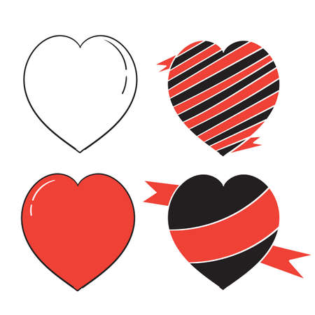 Collection of hand drawn heart illustrations, Love symbol icon set, love symbol doodle Imagens - 150671191