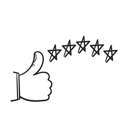 hand drawn customer review icon, quality rating, feedback, five stars doodle symbol on white background