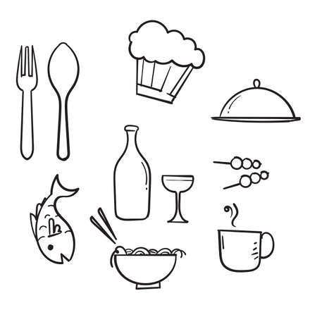 hand drawn Food and drinks icon. Restaurant line icons set. Vector illustration.doodle Imagens - 150671066