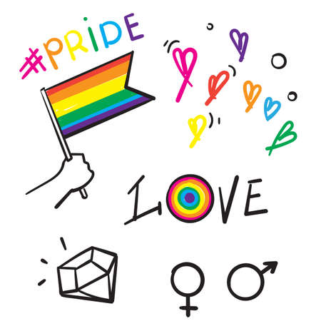 hand drawn doodle pride illustration symbol for lgbt, gay and lesbian vector