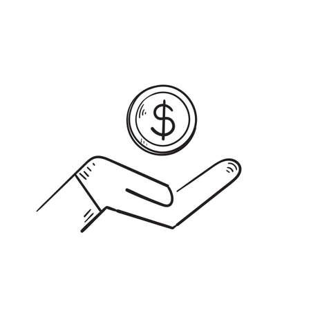 hand drawn save money icon, salary money, invest finance, hand holding dollar, doodle symbols on white background Ilustração