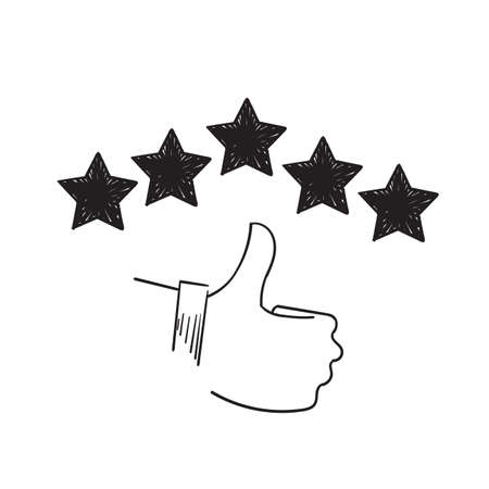 hand drawn customer review icon, quality rating, feedback, five stars doodle symbol on white background Imagens - 150675156