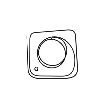 hand drawn doodle camera icon illustration.cartoon style vector