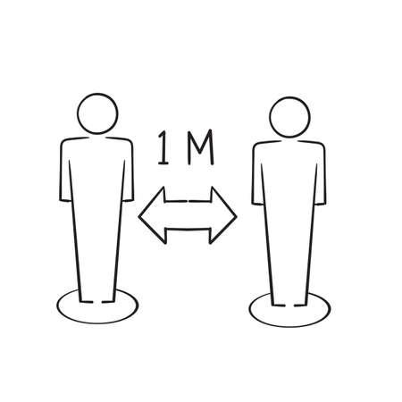 hand drawn Social Distancing Icon Vector Illustration doodle Ilustração