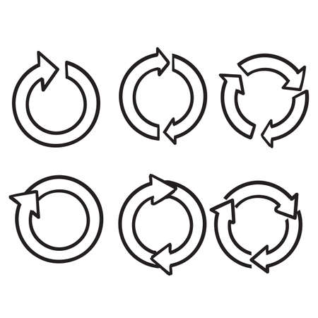 hand drawn doodle circular arrow collection vector
