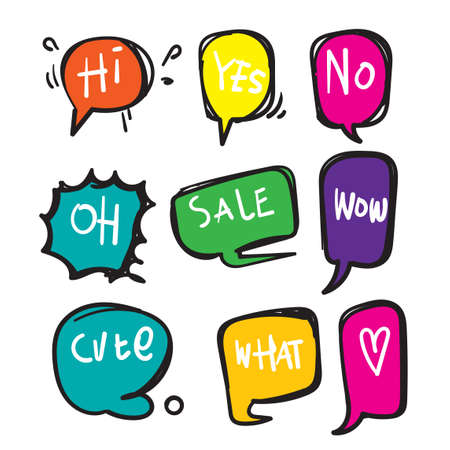 hand drawn Bubble talk phrases. Online chat clouds with different words comments information shapes vector. doodle