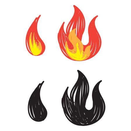 hand drawn flame icon illustration doodle vector Ilustração