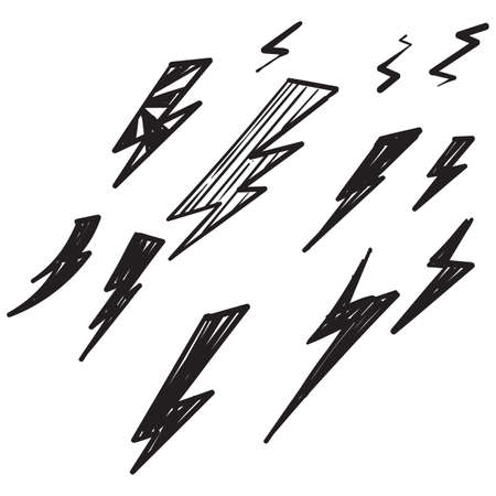 hand drawn doodle thunder bolt illustration vector isolated background Stock Illustratie
