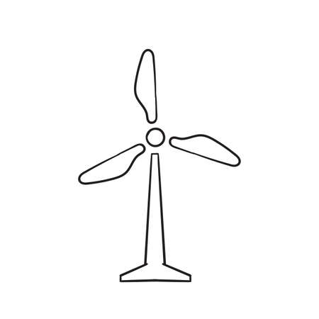 hand drawn wind turbine illustration icon isolated background vector
