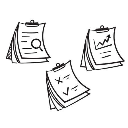 hand drawn Clipboard Line Icons Collection doodle vector Ilustração