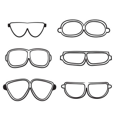 hand drawn doodle glasses icon with line art style cartoon Vector Illustration