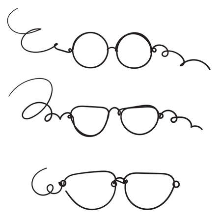 hand drawn doodle glasses icon with line art style cartoon