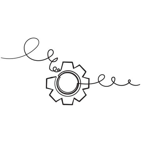 hand drawn doodle gears cogs icon with doodle drawing style Ilustração