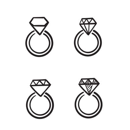 doodle diamond illustration vector isolated with drawing style