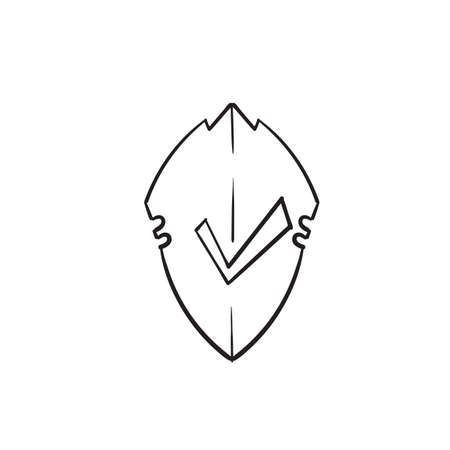 hand drawn doodle shield and checklist symbol for protection icon illustration vector