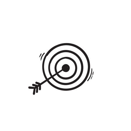 hand drawn doodle arrow and bullseye icon illustration vector