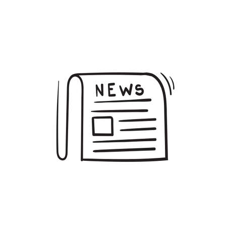 hand drawn newspaper icon illustration vector isolated background