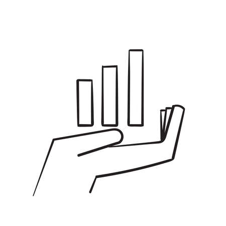 hand drawn growing graph icon on the hand illustration doodle