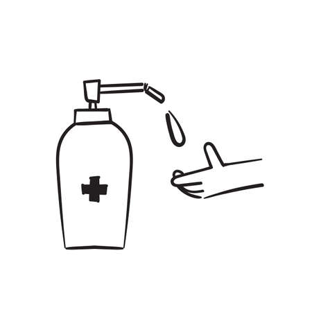 hand drawn doodle hand with Disinfection liquid Icon illustration Ilustração